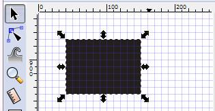 選択ツールでサイズ変形。矢印のハンドラが出る。