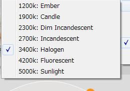 「Expand Color Range」の設定をすると、5000k - 1200kまで設定できる。
