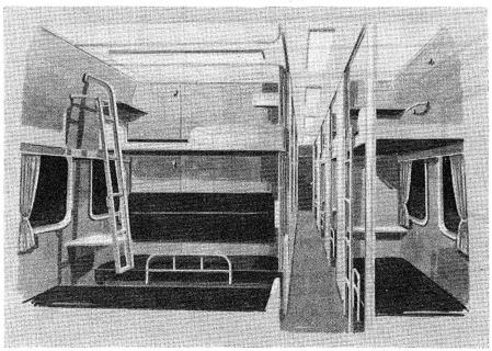 夜行新幹線の寝台イラスト