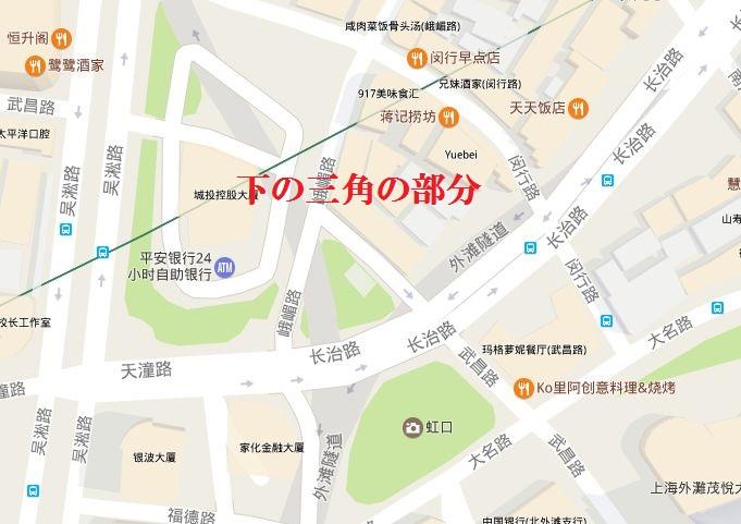 上海日本租界、虹口マーケット跡の位置地図