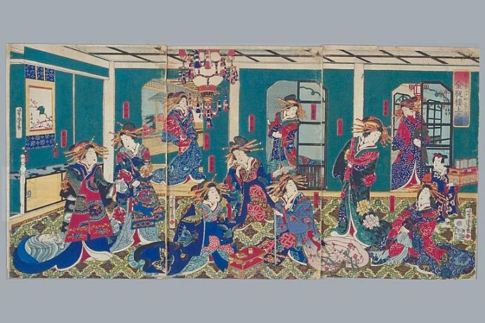 早稲田大学所蔵の金瓶楼上図、歌川芳虎
