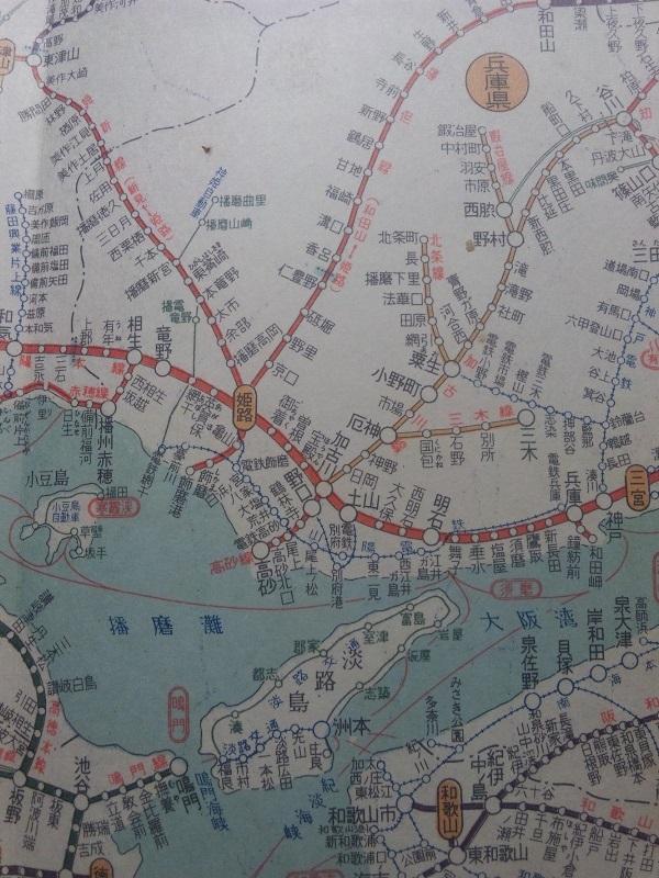 1957年兵庫県鉄道路線図