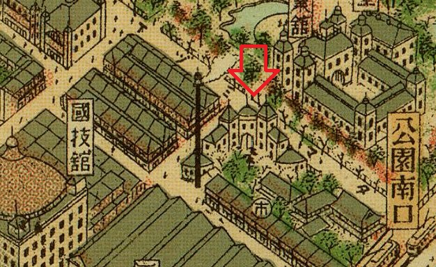大阪市パノラマ地図。新世界のアップ