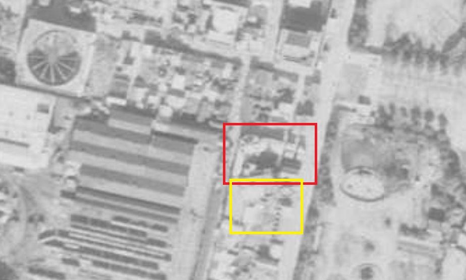 昭和23年(1948)撮影航空写真。新世界ジャンジャン横丁付近