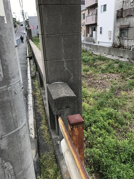 上野芝の旧月見橋の先端部分