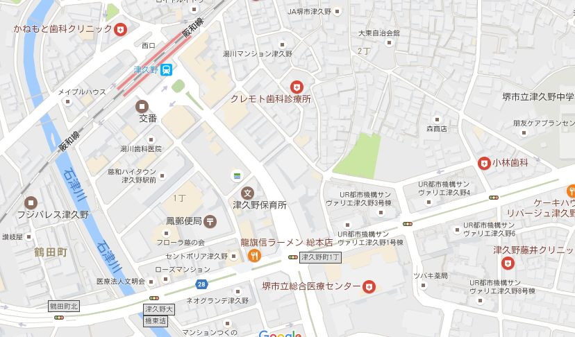 津久野駅前近辺の地図