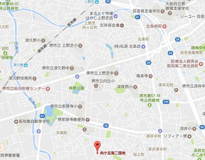 津久野と上野芝から向ヶ丘第2団地への地図