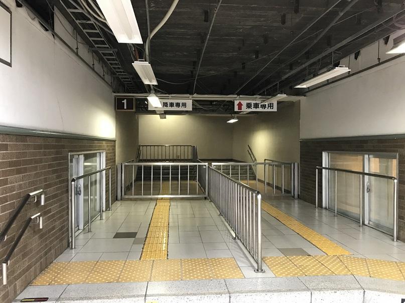 JR神戸駅、1番線ホームへの入り口