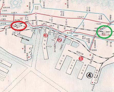 戦前の神戸港駅の位置。ポートトレイン