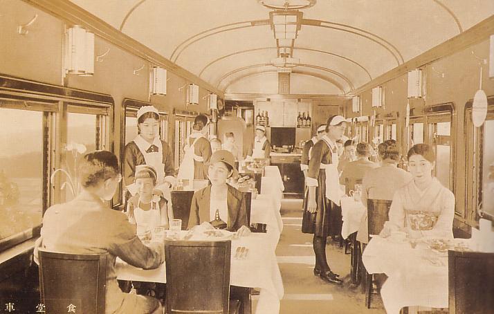 戦前の洋食堂車の車内