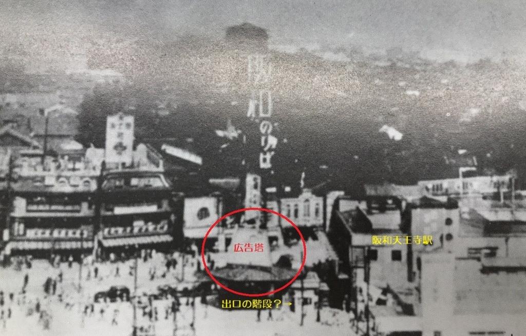 戦前の阪和線の天王寺駅と広告塔