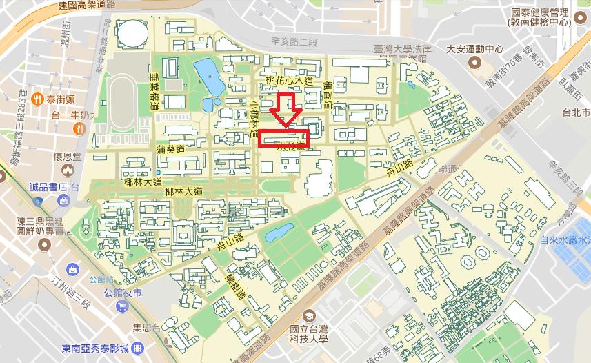 台湾大学機械旧館への地図