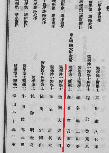 金関丈夫台北帝国大学教授名簿