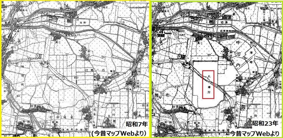 盾津飛行場地図