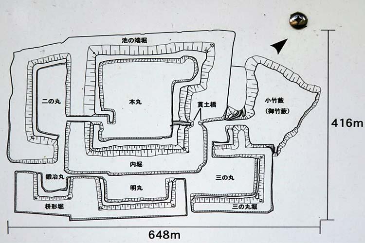 高岡城 縄張図