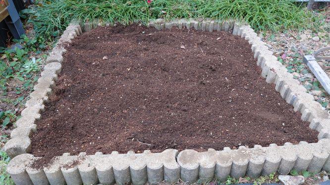 猫草の種をまいた花壇