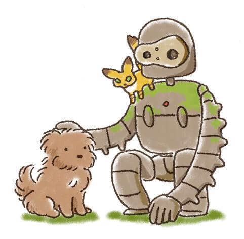 ロボット兵と犬のイラスト