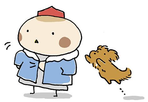 犬に飛びつかれているイラスト