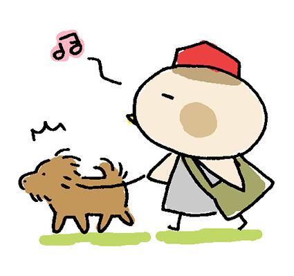 歌いながら犬の散歩をしているイラスト