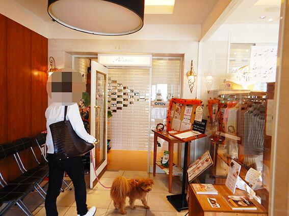 犬OKのカフェの入口
