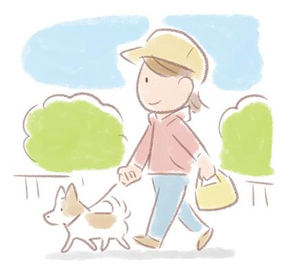 犬の散歩をするイラスト