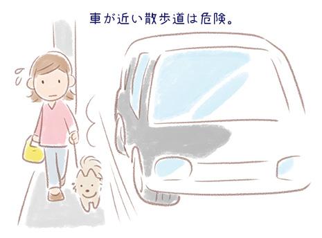 車の近くを散歩するイラスト
