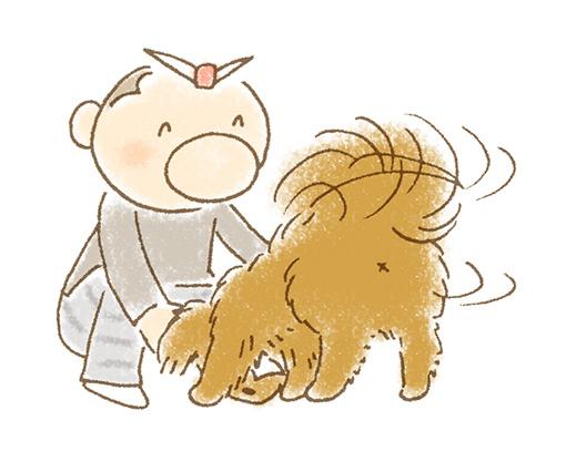犬のお尻上げイラスト