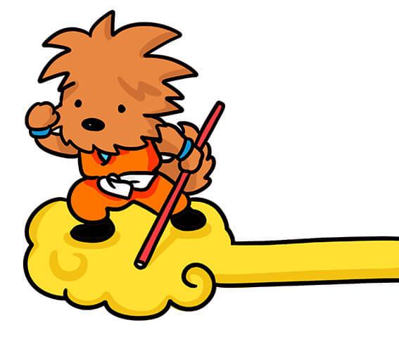 筋斗雲に乗るドランゴンボール犬