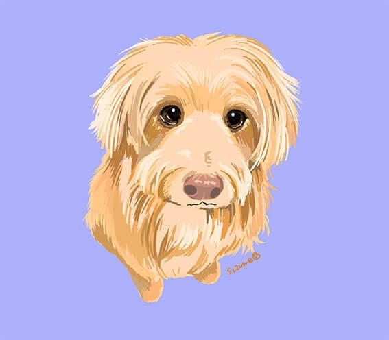 アクリル絵の具で描いた犬