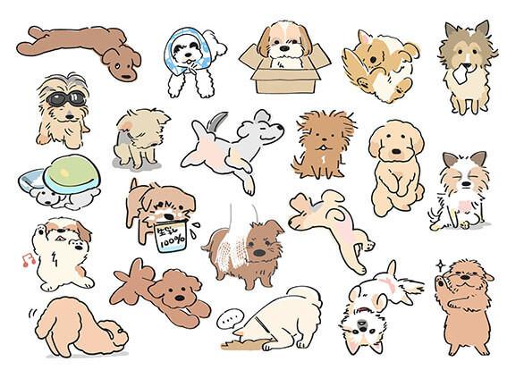 面白ポーズの犬イラスト