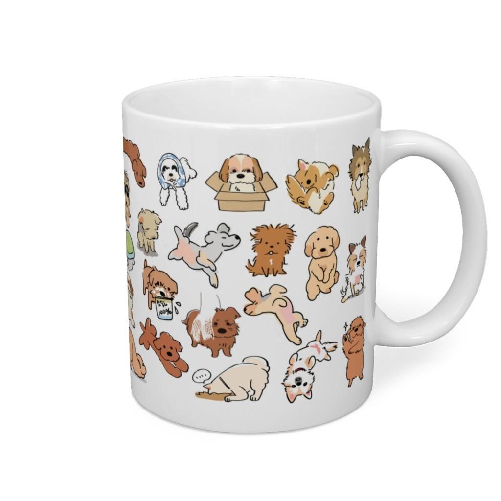犬のイラストマグカップ