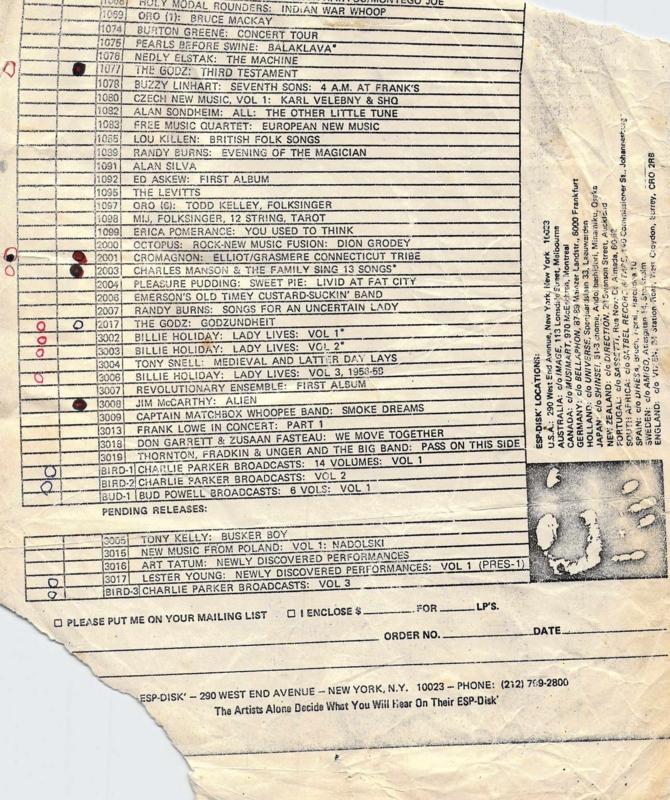 1980年頃 ESP-DISC, オーダーリスト, 吉祥寺マイナー(?)