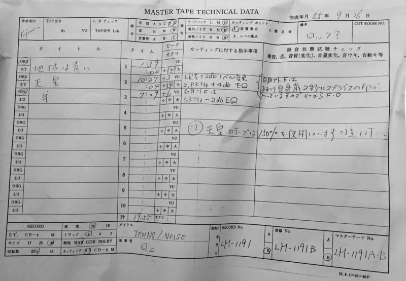 1980年9月〔TENNO / NOISE〕カッティング用テクニカルデータ(小島録音)