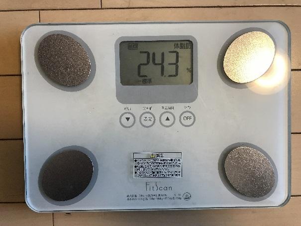 58歳筋トレ女子の体脂肪率、腹筋割れてても24.3あります