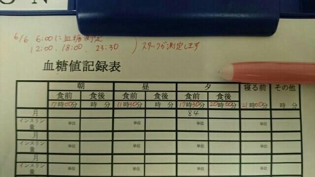 血糖値記録表