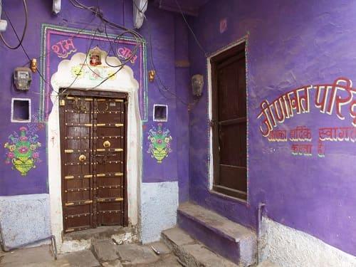 ヒンドゥー教の聖地プシュカルのお家のペイント
