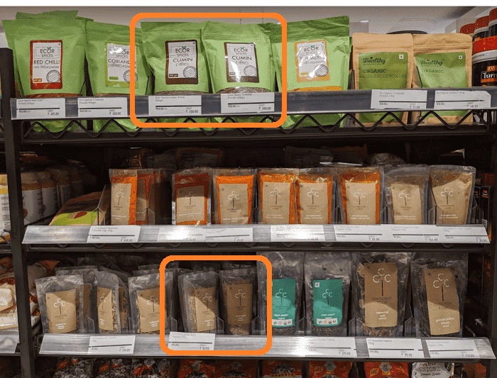 インドのスーパーに陳列されているスパイス