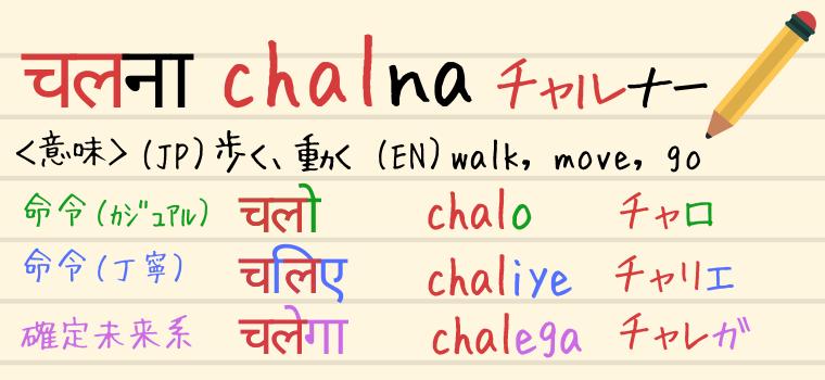ヒンディー語の動詞「Chalna(チャルナー)」の説明
