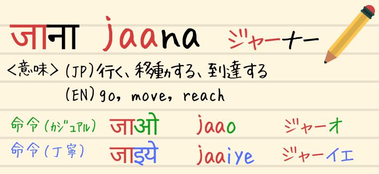 ヒンディー語の動詞「Jaana(ジャーナー)」の説明
