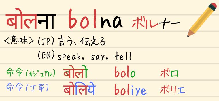 ヒンディー語の動詞「Bolna(ボルナー)」の説明