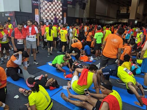 デリーハーフマラソンのマッサージコーナー