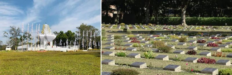 マニプールの州都インパールのパカンバ寺院とインパール作戦墓地