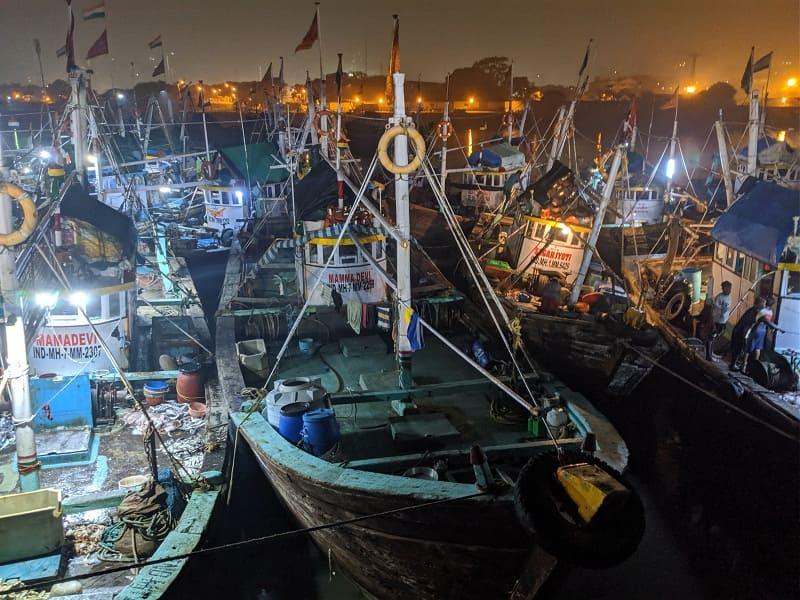 漁から戻って来たばかりの船がズラリと並ぶ