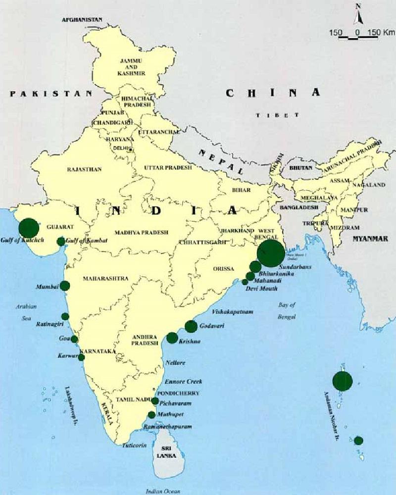 インドのマングローブ林マップ