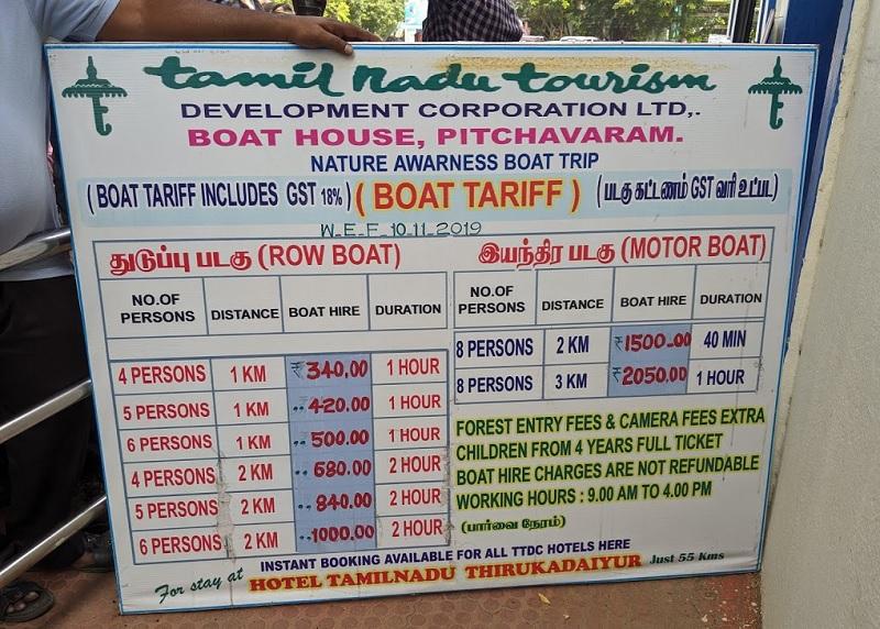 ピチャワラムマングローブ林ボート料金表(通常)