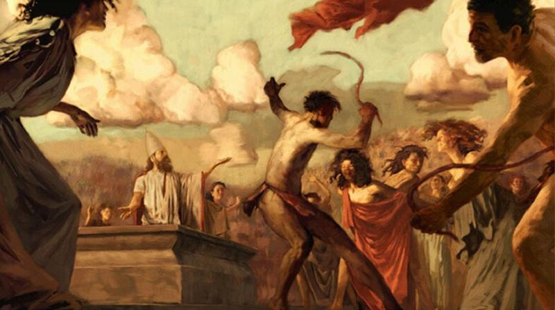 全裸の男性が女性をムチで打っている様子(ルペルカリア祭)