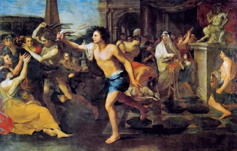 町中を走り周って女性にムチを打ちつける半裸男性2人組(ルペルカリア祭)