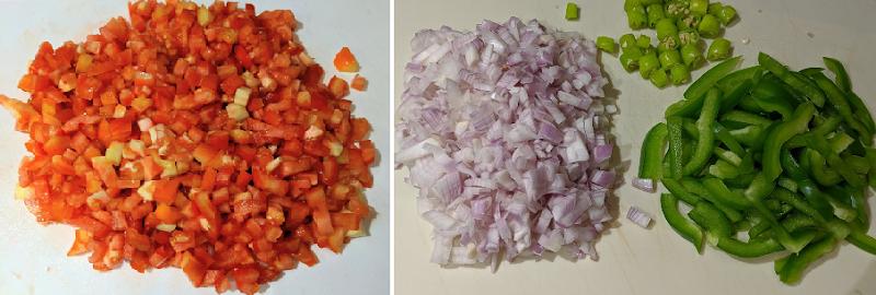 カダイ・パニールの作り方(野菜を切る)