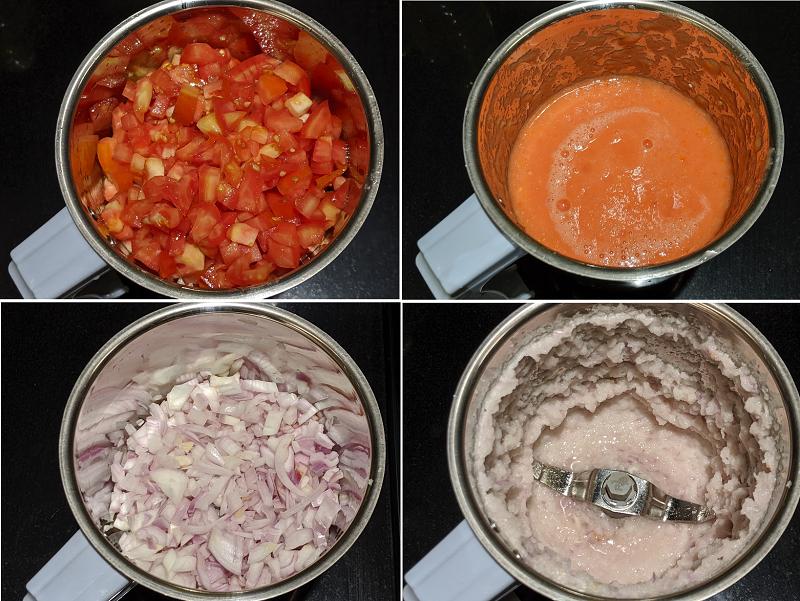 カダイ・パニールの作り方(トマトと玉ねぎをミキサーにかける)