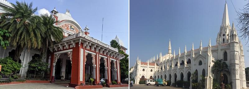 チェンナイにある植民地時代の建造物(チェンナイエグモア駅・サントメ教会)